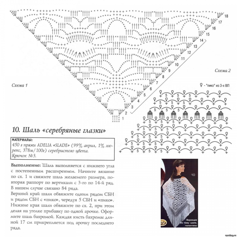 Вязание крючком шали схемы и описания и
